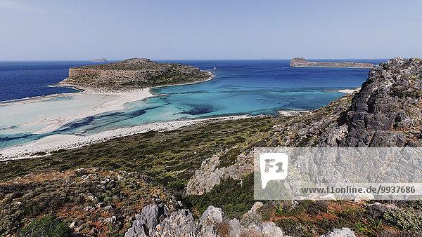 Europa Strand Küste Meer Insel blau türkis Bucht Chania Kreta Griechenland Halbinsel