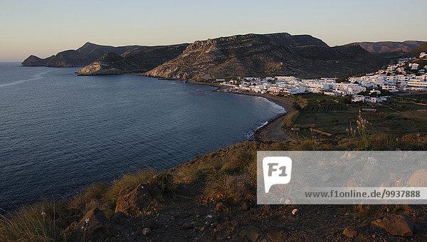 Naturschutzgebiet Küste Sonnenaufgang Meer Dorf Almeria Bucht Mittelmeer Spanien