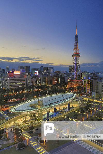 Stadtansicht Stadtansichten Skyline Skylines Abend Sonnenuntergang niemand Reise Großstadt Architektur Turm bunt Quadrat Quadrate quadratisch quadratisches quadratischer Beleuchtung Licht Tourismus Aichi Asien Ortsteil Innenstadt Japan Nagoya