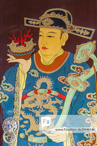 China  Shanghai  Yuyuan Garden  City God  Temple of Shanghai  Doorway Painting of Temple Guardian