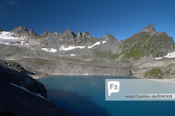 Europa Berg Sommer Landschaft See Alpen Schweiz