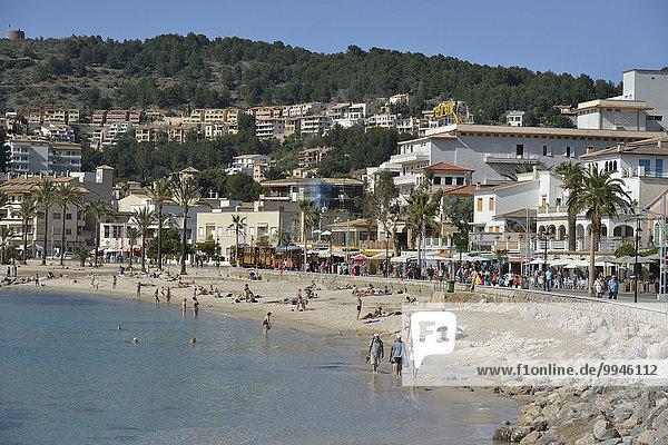 Strand  Puerto de Sóller  Mallorca  Balearen  Spanien  Europa