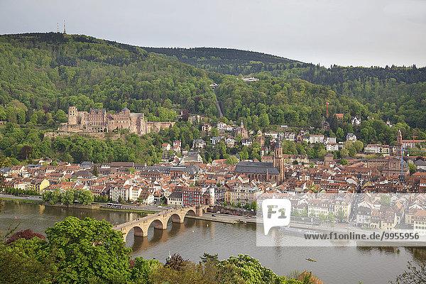 Blick über die Stadt vom Philosophenweg  Heidelberg  Baden-Württemberg  Deutschland  Europa