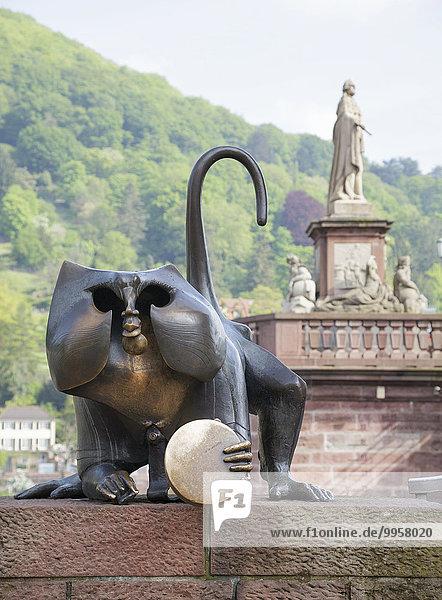 Brückenaffe  Heidelberg  Baden-Württemberg  Deutschland  Europa