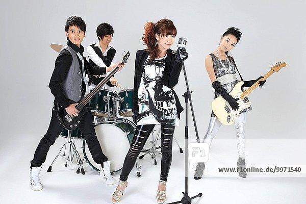 studio shot of a musical band