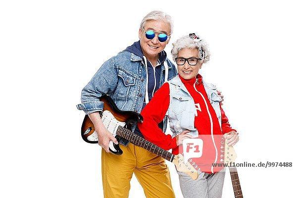 Mensch zwei Personen Menschen halten Gitarre 2 Mode alt