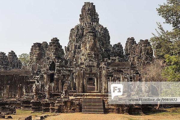 Bayon temple south entrance  Angkor Thom  Siem Reap  Cambodia  Asia