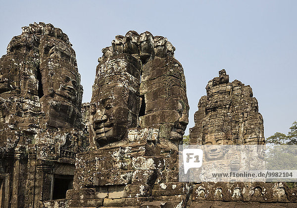 Towers with the face of Bodhisattva Lokeshvara  Bayon Temple  Angkor Thom  Siem Reap  Cambodia  Asia