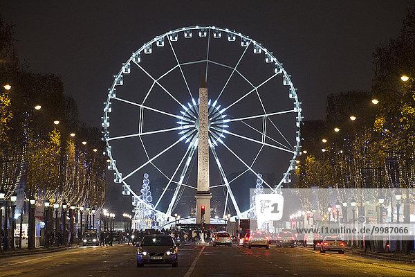 Paris Hauptstadt Frankreich Europa Nacht Allee