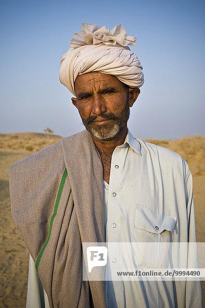 Portrait Indien Jaisalmer Rajasthan Kamelritt Kamel