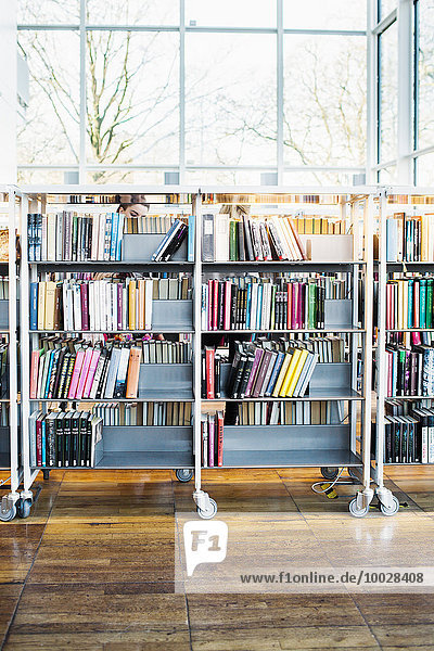 Books arranged in shelves at library