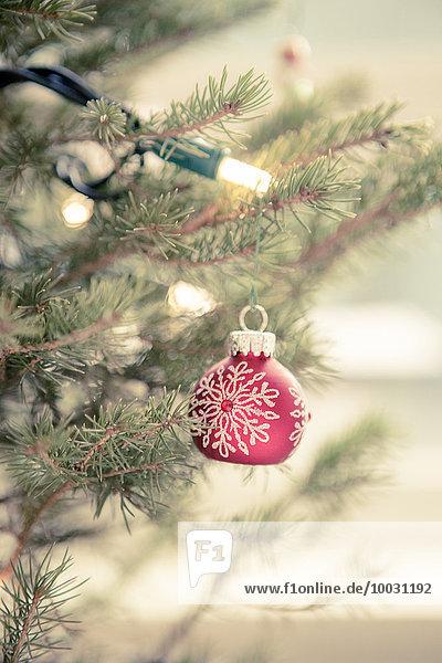 Rote Ornamente und Lichterketten am Weihnachtsbaum