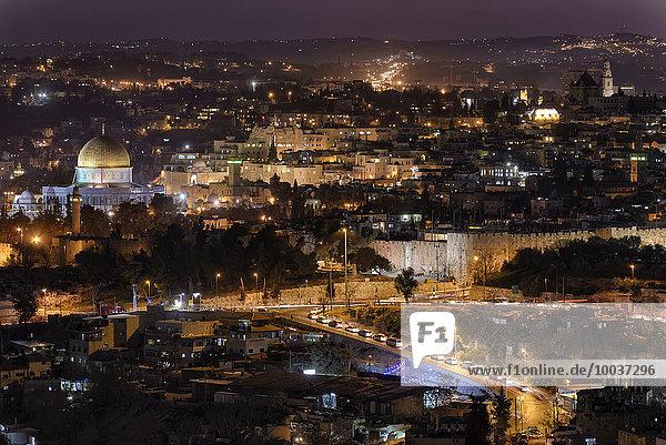 Altstadt von Jerusalem bei Nacht  Felsendom  jüdisches Viertel  Western Wall  Klagemauer  Davidszitadelle  Jerusalem  Israel  Asien