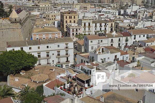 Altstadthäuser  Eivissa  Ibiza-Stadt  Ibiza  Balearen  Spanien  Europa