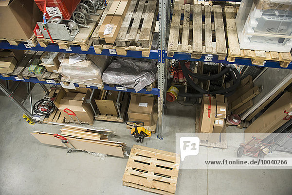 Goods on shelves in warehouse Goods on shelves in warehouse