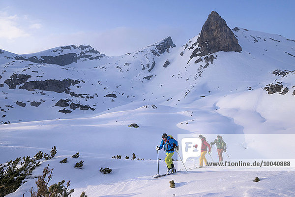 Ski mountaineers climbing on snowy mountain  Tyrol  Austria