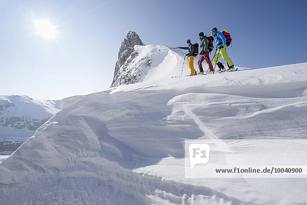 Ski mountaineers climbing on snowy peak  Tyrol  Austria
