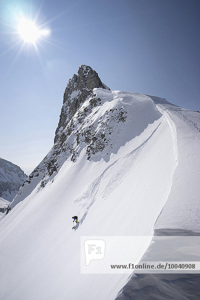 Young man skiing  Tyrol  Austria