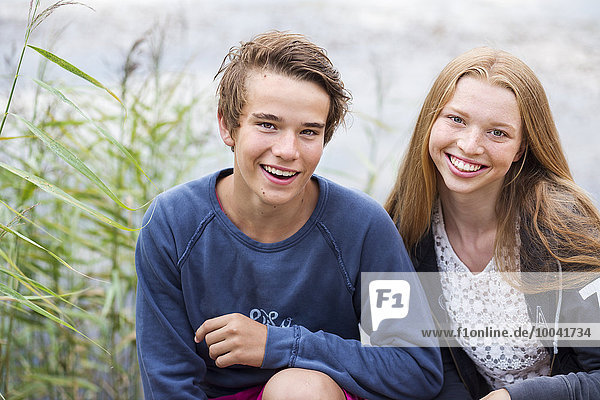Portrait of smiling teenagers