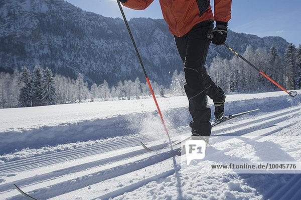 Deutschland  Bayern  Inzell  Skifahrer in verschneiter Landschaft