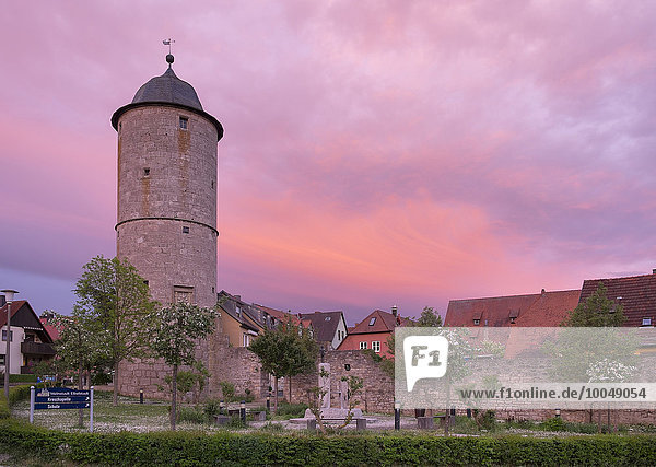Germany  Bavaria  Lower Franconia  Eibelstadt  Kere tower and city wall  afterglow