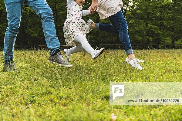 Vater  Mutter und Tochter laufen auf der Wiese.
