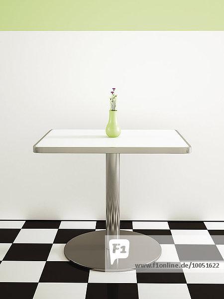 Tisch mit Blumenvase im American Diner  3D Rendering