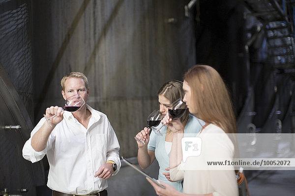 Drei Personen bei der Weinprobe im Keller