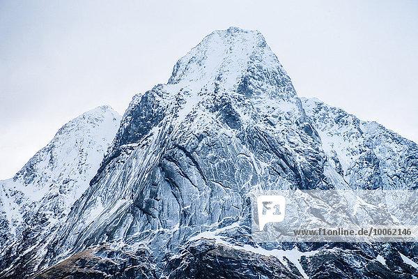 Detail view of snow capped mountain  Reine  Lofoten  Norway