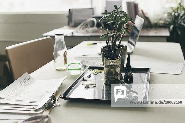 Topfpflanze und Papierkram auf dem Schreibtisch des Designstudios