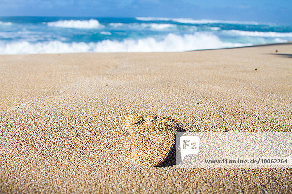 Fußabdruck im Sand  Nahaufnahme