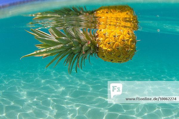 Ananas schwimmend im Schwimmbad  Nahaufnahme Ananas schwimmend im Schwimmbad, Nahaufnahme