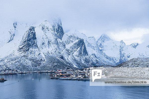 Snow capped mountains  Reine  Lofoten  Norway