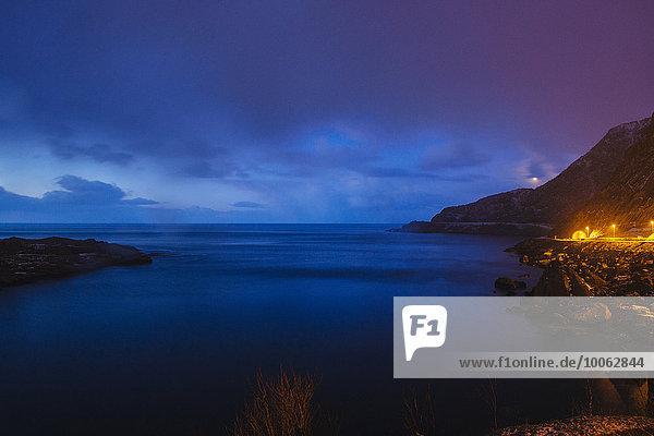 Coastline at night  Reine  Lofoten  Norway