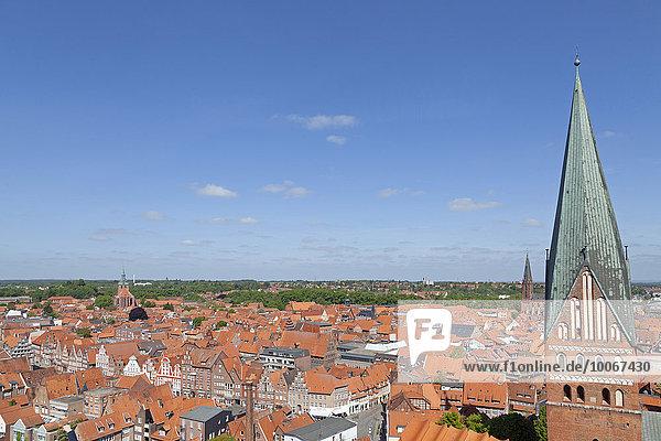 Aussicht vom Wasserturm  Lüneburg  Niedersachsen  Deutschland  Europa