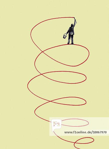 Geschäftsmann steigt auf durch eine von ihm gemalte Spirale