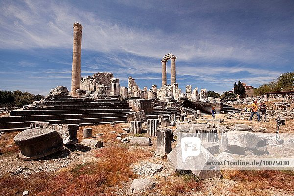 Tourists at the Temple of Apollo at the Archeological area of Didyma  Didim  Aydin Province  Turkey  Europe.