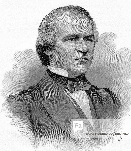 Andrew Johnson served as Abraham Lincoln's vice-president during Liuncoln's second term in office. Following Lincoln's death on April 15  1865  Johnson  per the terms in the U.S. Constitution. became president. He continued in that office until 1869. The engraving is from a photograph taken of Johnson by the renawned Civil War photographer Matthew Brady.