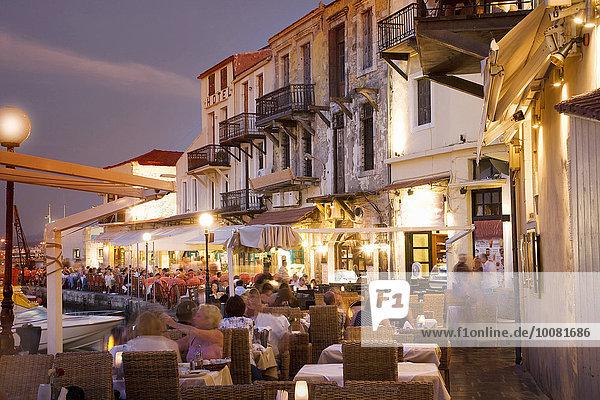 Sonnenuntergang Weg Cafe Zeit Ansicht Kykladen Griechenland Mykonos