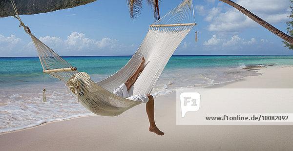 liegend liegen liegt liegendes liegender liegende daliegen Tropisch Tropen subtropisch Europäer Frau Strand Hängematte
