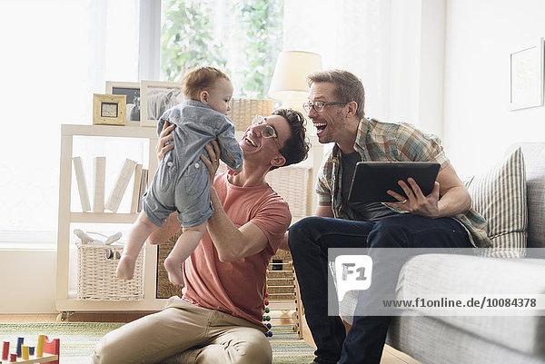 Europäer Entspannung Menschlicher Vater Zimmer Wohnzimmer Baby