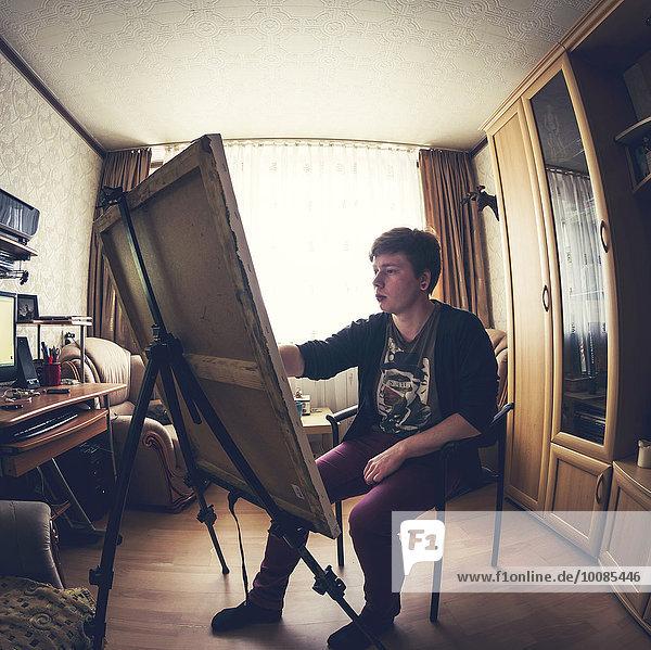 Europäer Schlafzimmer streichen streicht streichend anstreichen anstreichend Künstler