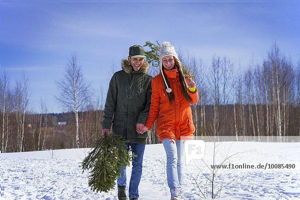 Europäer tragen Baum Schnee Feld Ast