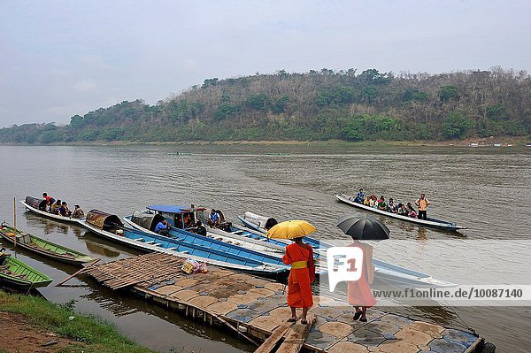boat pier on Mekong River  Luang Prabang  Laos  Southeast Asia.