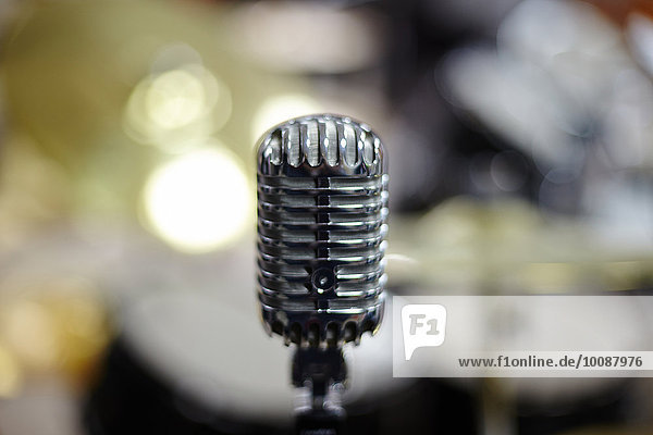 Close up of vintage microphone
