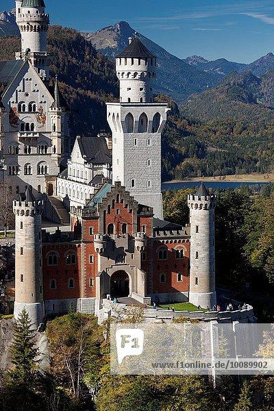 Erhöhte Ansicht Aufsicht Bayern Deutschland Hohenschwangau
