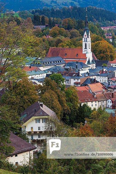Stadt Ansicht Erhöhte Ansicht Aufsicht heben Bayern Abenddämmerung Deutschland