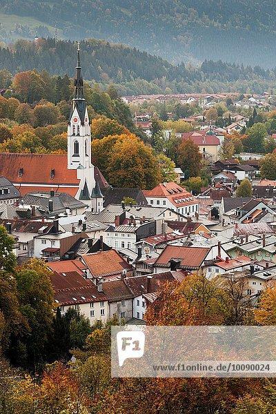 Morgen Stadt Ansicht Erhöhte Ansicht Aufsicht heben Bayern Deutschland