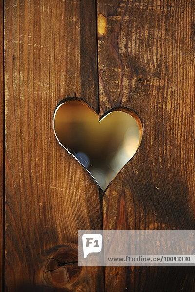 Loch herzförmig Herz Holzbrett Brett