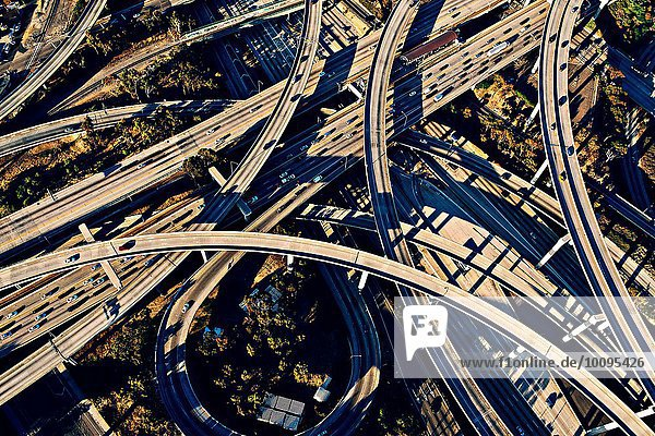 Aerial view of sunlit curved flyovers and highways  Los Angeles  California  USA